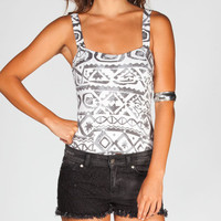 Full Tilt Ethnic Print Corset Top Black/White  In Sizes