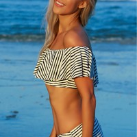 Off Shoulder Ruffle Bikini Top Striped