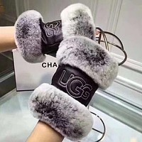UGG New fashion leather keep warm women high quality gloves Black