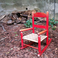 Vintage Child's Red Wood Rocking Chair Rush Seat