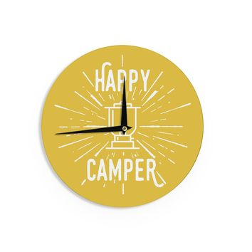 "Jackie Rose ""Happy Camper"" Yellow Typography Wall Clock - Outlet Item"
