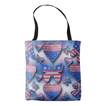 Patriotic Butterflies Hearts Tote Bag