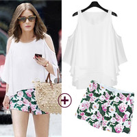 White Cut-Out Sleeve Swing Top and Floral Print Shorts