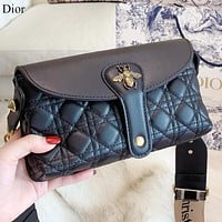 Dior New fashion bee leather shoulder bag crossbody bag Black