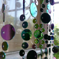 Iridescent Black Beaded Curtain -- Champagne Bubbles