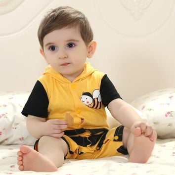 Summer Baby Clothes Short Romper Cartoon Animal Yellow Bee Design Cosplay Photo Props Jumpsuit Newborn Infant Sleepers Hooded
