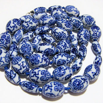 Blue White Porcelain Bead Necklace, Hand Knotted, Sterling Silver Clasp, Chinese Export, Vintage Beaded Jewelry 1017