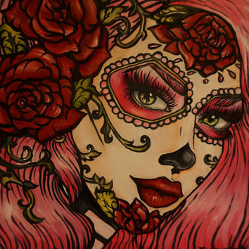 Day of the Dead Rockabilly Pin Up Pink Hair Dia De Los Muertos  Lowbrow Tattoo art Print 12 by 12