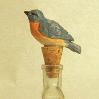 Hand Carved Wood Decorative Bluebird Bottle Stopper
