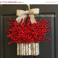 WREATHS ON SALE Christmas wreath berry wreaths birch bark vases Diy wreath burlap bow Christmas wreaths Diy wreaths
