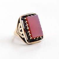Antique Victorian 10k Rosy Yellow Gold Banded Agate Ring - Late 1800s Size 4 Rectangular Purple, Orange, Red Gem Fine Statement Jewelry