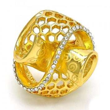 Gold Layered Multi Stone Ring, Spiral Design, with Crystal, Golden Tone