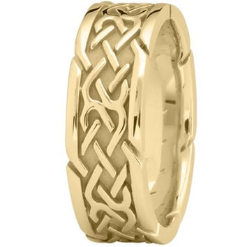 Wedding Band - Tire Tread Mens Wedding Ring in Yellow Gold