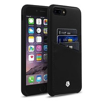 Cobble Pro Leather Slim Rear Protective Shell Case with Card Slot Wallet Holder for Apple iPhone 7 Plus - Black | Staples