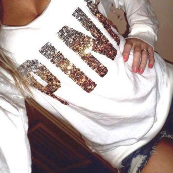 VONE055 PINK' Victoria's Secret Sequin Letter Pattern Loose Shirt Pullover Sweater Blouse Top