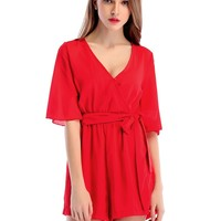 Red Half Sleeve Chiffon Casual Jumpsuit