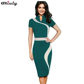 Oxiuly Womens Vintage Contrast Colorblock Slimming Wear To Work Office Business Casual Party Pencil Sheath Bodycon Dress