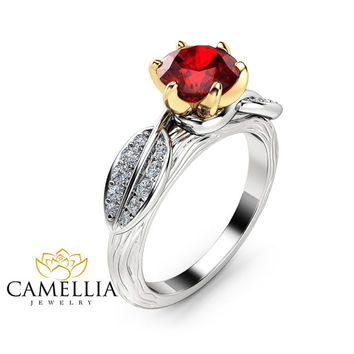 Nature Inspired Ruby Engagement Ring 14K Two Tone Gold Engagement Ring Branch and Leaf Ruby Ring