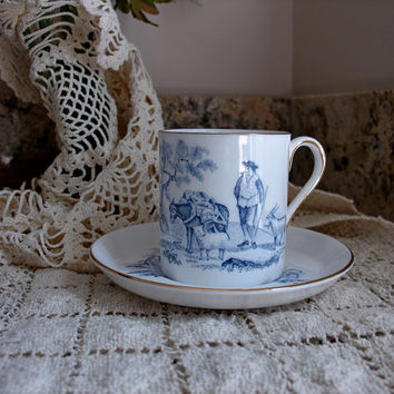 Royal Chelsea English Fine Bone China Colonial Rural Shepherd Scene, H. Fennell Vintage Demitasse  Cup and Saucer, Gift For Her