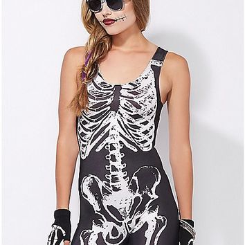 Skeleton Catsuit Adult Womens Costume - Spencer's