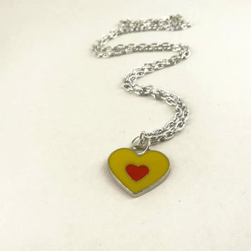 Heart Shaped Pendant in Silver Toned Chain by toppytoppy on Etsy