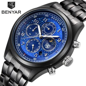 BENYAR Moon Phase Chronograph Watches Men Quartz Watches Black Dial Men's Sports Military Wrist Watch Male Clock Montre Homme