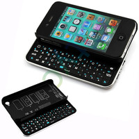 New Black Wireless Bluetooth Sliding  Lighted Keyboard Case For iPhone 4 4S