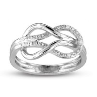 0.02 ct Sterling Silver Infinity Diamond Ring (Sizes 5,6,7,8 only) - 6
