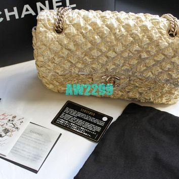Auth Limited Edition Chanel Rare Flap Bag Handbag Box Card and Dust bag Gold