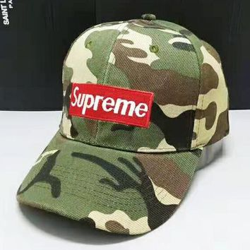 Supreme Fashion New Embroidery Letter Camouflage Women Men Cap Hat Green