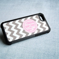 Gray and White Chevron with Pink Monogram Good Grip Hybrid iPhone Case - Plastic Outer Case and Black Silicone Liner