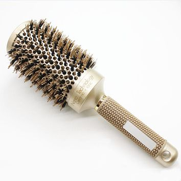 Nano Ionic Boar Bristle Hair Brush Salon Comb Barrel Blow Dry Hair Round Brush In 4 Sizes Professional Salon Styling Tools B-087