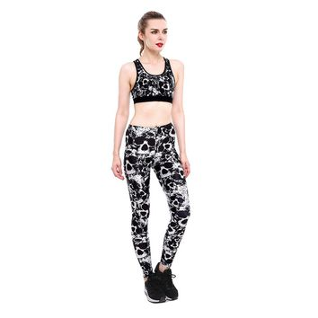 Women's Work Out Suits Floral Skull Print Push Up Leggings Two Piece Set