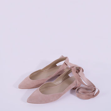 Suede Wrap Flats