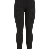 Patterned Fleece Lined Legging - Black