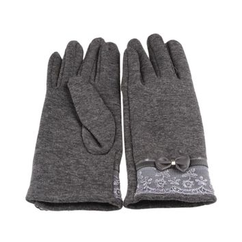 Fashion PU Leather Lace Bow Women Winter Gloves Female Ladies Girls Touch Screen Mittens Sheep Wool Glove Mitten Guantes