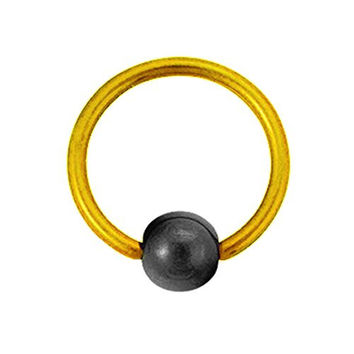 Titanium Ball Closure Ring in Yellow with Hematite Bead 16 gauge by 5/16""