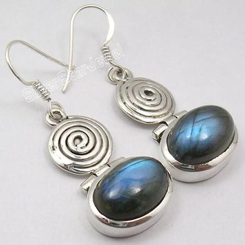 Solid Silver BLUE FIRE LABRADORITE Earrings