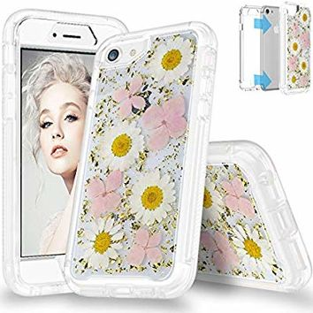 "SEYMAC Flower Case for iPhone 8,iPhone 7, iPhone 6, Full Body Protection Bumper Rugged Non-Slip Shockproof Protective Clear Case with Dried Real Flower for 4.7"" iPhone 6/6s/7/8(Pink)"