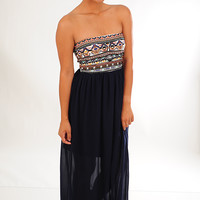 Blink Of An Eye Dress: Navy/Multi