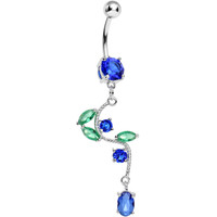 Blue Gem Budding Flower Vine Dangle Belly Ring | Body Candy Body Jewelry