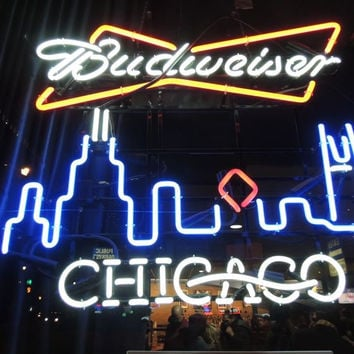 Budweiser Chicago Neon Sign Real Neon Light