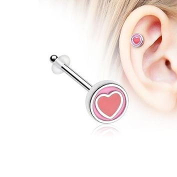 Adorable Valentine Heart Piercing Stud with O-Rings