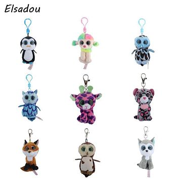 Elsadou Ty Beanie Boos Big Eyes Plush Keychain Toy Doll TY Baby Kids Gift