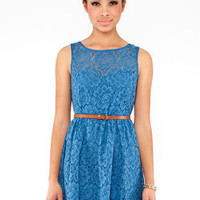 Lace Tank Dress in Blue :: tobi
