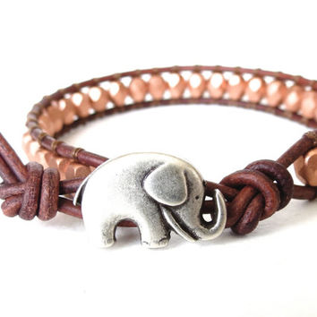 Hipster elephant bead bracelet for good luck by MirasBeadBoutique