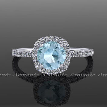 Aquamarine Engagement Ring, Diamond Alternative, Halo Engagement Ring, 14k White Gold, Promise Ring Re00071