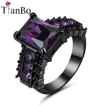 TianBo Female Sky-Blue & Purple Ring Fashion White & Black & Gold Colour Vintage Wedding Rings For Women Birthday Stone Size 8