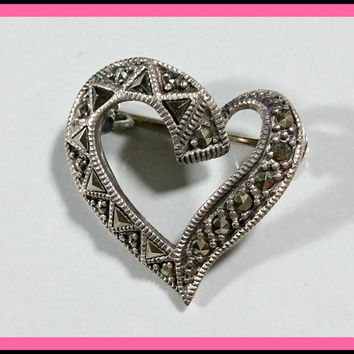 Sterling Heart Brooch Vintage Silver Marcasites Sparkling Stylized Heart Pin Darkened Silver Heavy Oxidation Petite Fun Lapel Collar Blouse