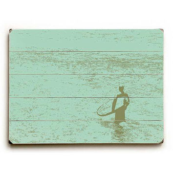 Lone Surfer by Artist Wade Koniakowsky Wood Sign